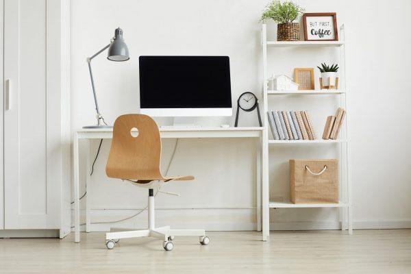 spacious white home office